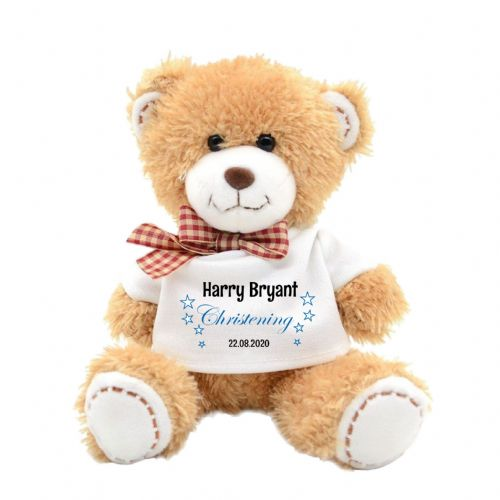 Personalised Boys Christening Day Plush Teddy Bear N2
